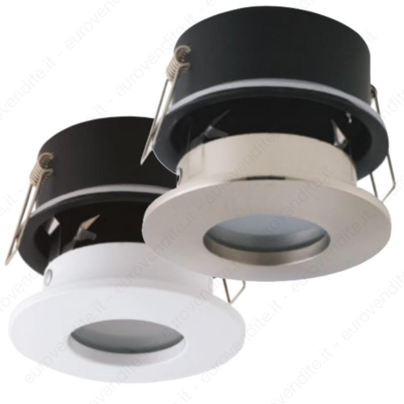 Porta Faretto FISSO da Incasso IP65 impermeabile per doccia rotondo LED GU10