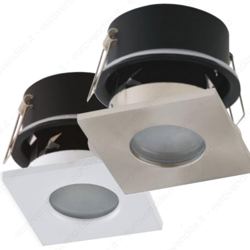 Porta Faretto da Incasso IP65 impermeabile per doccia quadrato LED GU10