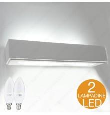 APPLIQUE IN GESSO LAMPADA A PARETE MODERNO CON LAMPADINE LED 2 X E14 INCLUSE