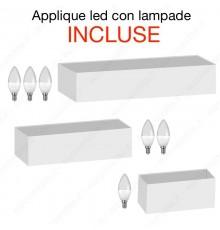 Applique in gesso di forma rettangolare lampadine led E14 doppia luce