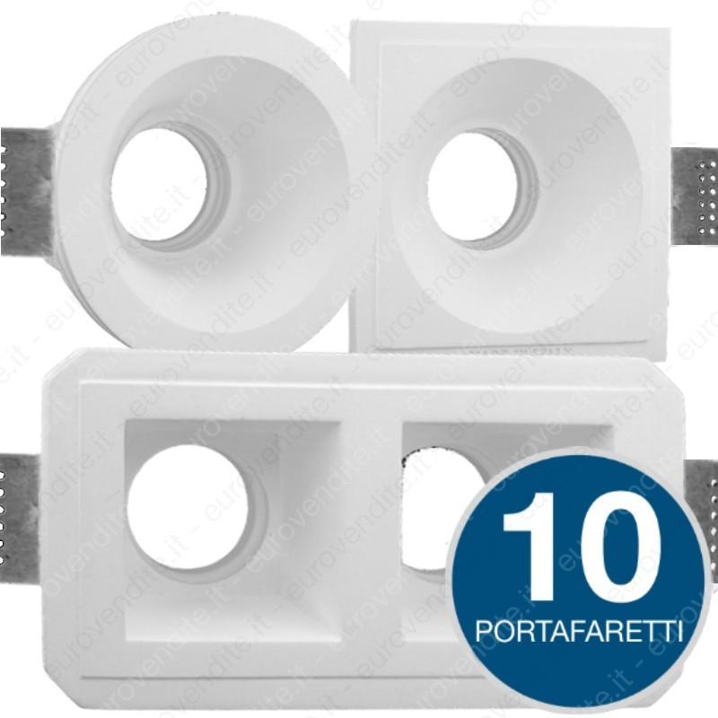 Porta Faretto da Incasso in gesso rotondo o quadrato Gu10 soffitto