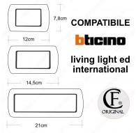 Placche Compatibili METALLO Bticino LIVING International 3 4 7 posti platino