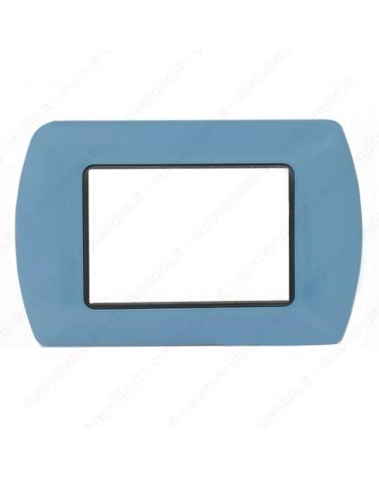 Placche Compatibili METALLO Bticino LIVING 3 4 7 posti azzurro turchese