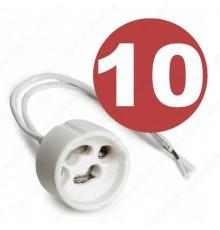 10 portalampada con attacco Gu10 in ceramica per lampadine Gu10