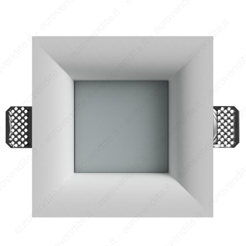 portafaretto in gesso a scomparsa per contro soffitte con plexiglass satinato