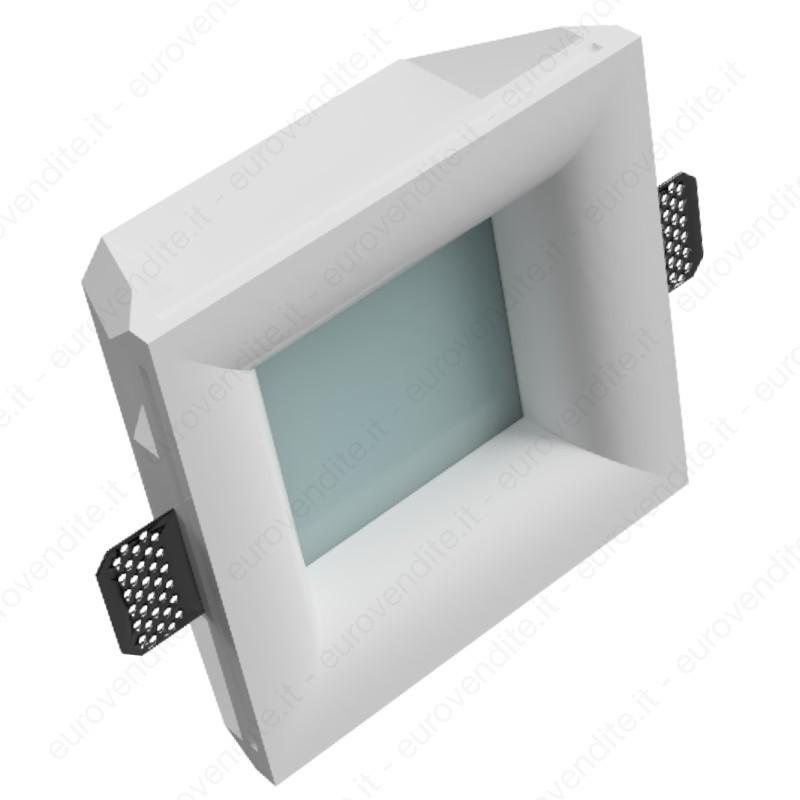 Porta Faretto in gesso a filo per contro soffitte con plexiglass satinato
