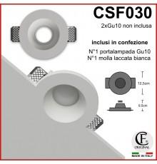 porta faretti in gesso ceramico con effetto ad imbuto csf030