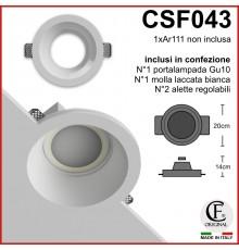 Portafaretto in gesso CSF043 di forma quadrata con lampada a vista