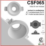 FARETTO IN GESSO ROTONDO CON EFFETTO IMBUTO CSF065 PER GU10 LED