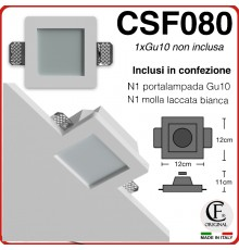 PORTA FARETTO IN GESSO CERAMICO DI FORMA QUADRATA CON VETRO SATINATO CSF080