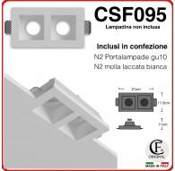 PORTA FARETTO DOPPIO IN GESSO CERAMICO DI FORMA RETTANGOLARE MOLLA E PORTALAMPADA CSF095