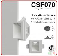 SEGNAPASSO IN GESSO CERAMICO A SCOMPARSA CON INCLINAZIONE A 45 GRADI PER GU10