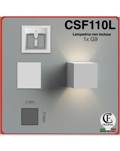 APPLIQUE IN GESSO CERAMICO A PARETE DI FORMA CUBO PER 1 G9 CSF110L