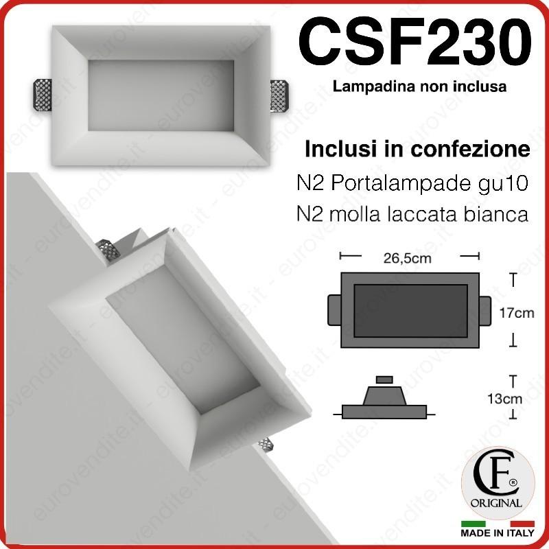 FARETTO DOPPIO IN GESSO CERAMICO DI FORMA RETTANGOLARE CON VETRO CSF230