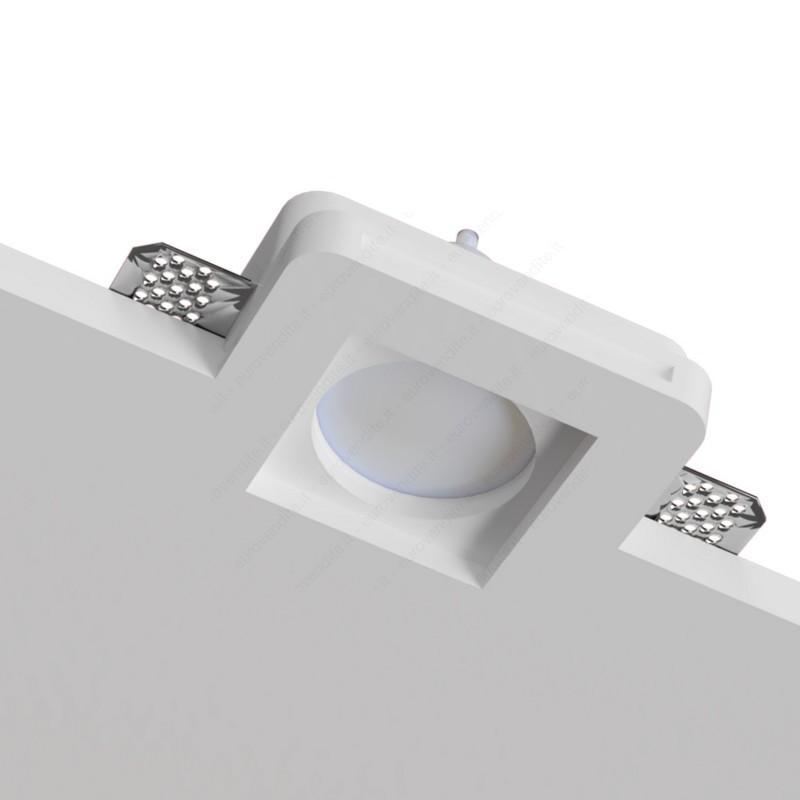 10 Porta faretti in gesso da incasso quadrati per lampade led a scomparsa 10 pezzi