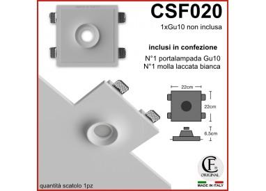 PORTA FARETTO IN GESSO CERAMICO DI FORMA QUADRATA MOLLA E PORTALAMPADA CSF020