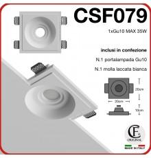 Faretto in gesso ceramico di forma rotonda a cerchi concentricigu10 csf079