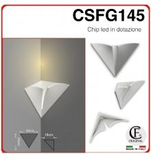 applique in gesso di forma angolare luce calda naturale e fredda CSFG145