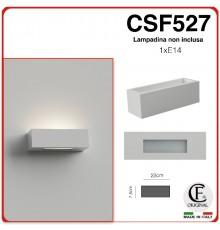 APPLIQUE IN GESSO CERAMICO VERNICIABILE A MURO DI FORMA RETTANGOLARE PER PARETE 1 E14 CSF527