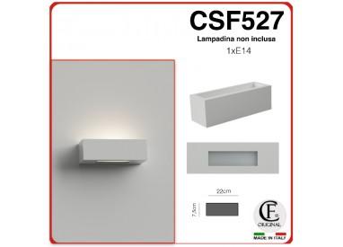 APPLIQUE IN GESSO CERAMICO VERNICIABILE DI FORMA RETTANGOLARE PER 1 E14 CSF527
