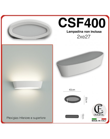 Applique in gesso ceramico decorativo a led 2XE27 CSF400