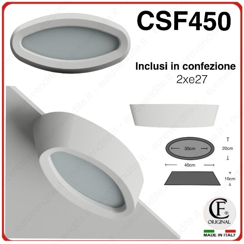 PORTA FARETTI IN GESSO CERAMICO A SOFFITTO / PLAFONIERA 2XE27  LED CSF450