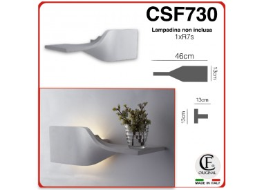 Applique in gesso ceramico contemporaneo VERNICIABILE a parete con attacco R7S