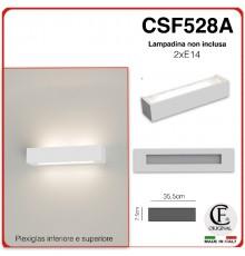 APPLIQUE IN GESSO CERAMICO DI FORMA RETTANGOLARE PER 2 E14 CSF528A COPERTURA IN PLEXIGLASS INFERIORE E SUPERIORE