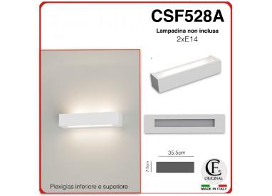 APPLIQUE IN GESSO CERAMICO DI FORMA RETTANGOLARE PER 2 E14 CSF528A