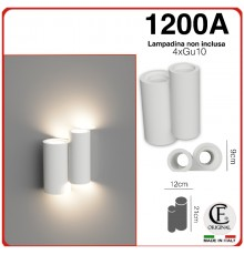 APPLIQUE IN GESSO CERAMICO VERNICIABILE CON LUCE LED 4XGU10 CSF1200A