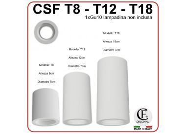 PORTA FARETTO IN GESSO CERAMICO DI FORMA TUBO T-8 T-12 T-18