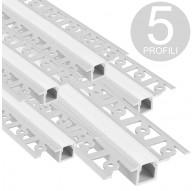 Profili in alluminio per strisce led in basse da 2 metri - pacco da 5 pezzi