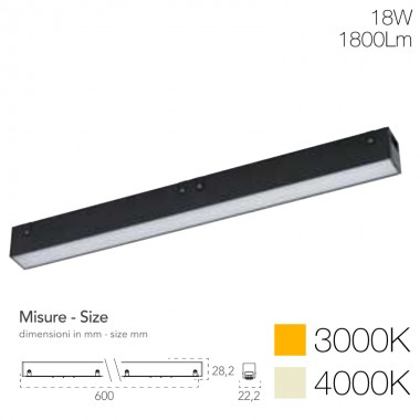 Lampada lineare per sistema Davinci Tema 48V 18W cover opale