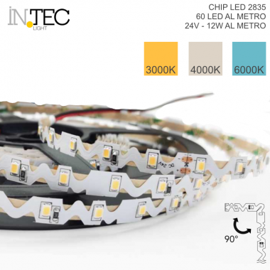 STRISCIA LED 3D PIEGHEVOLE 90° LED 2835 5m 300LED 60W DC24V CRI85 IP20