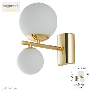 Applique in metallo oro 2 sfere diffusorie in vetro design