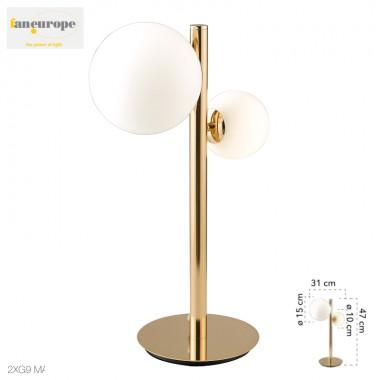 Lampada da tavolo in metallo oro 2 sfere diffusorie in vetro design